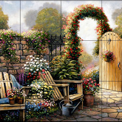 The Tile Mural Store (USA) - Tile Mural - Garden Patio - Kitchen Backsplash Ideas - This beautiful artwork by John Zaccheo has been digitally reproduced for tiles and depicts a colorful garden patio.  This garden tile mural would be perfect as part of your kitchen backsplash tile project or your tub and shower surround bathroom tile project. Garden images on tiles add a unique element to your tiling project and are a great kitchen backsplash idea. Use a garden scene tile mural for a wall tile project in any room in your home where you want to add interesting wall tile.