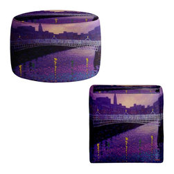 DiaNoche Designs - Ottoman Foot Stool - Purple Mist Ha Penny Bridge - Lightweight, artistic, bean bag style Ottomans. You now have a unique place to rest your legs or tush after a long day, on this firm, artistic furtniture!  Artist print on all sides. Dye Sublimation printing adheres the ink to the material for long life and durability.  Machine Washable on cold.  Product may vary slightly from image.