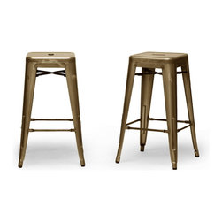 "Baxton Studio - Baxton Studio French Industrial Modern Counter Stool in Bronze (Set of 2) - We didn't think a piece of furniture could possess a skill such as talent until we met these spectacular seats. Cafe counter chairs? Industrial bar stools?  Minimalist modern counter stools? You decide, because we think this design is skilled enough to be all of the above.  This Chinese-built steel stackable counter stool is finished with a powder-coating of metallic bronze.  To clean, wipe with a damp cloth.  Non-marking black plastic feet help protect sensitive flooring.  The stools are fully assembled. The French Industrial Collection includes counter stools, bar stools, and dining chairs in a selection of colors including gray, bronze, gunmetal, and white. 17""x17""Dx26.5""H, seat dimension:12""Wx12""Dx26.5""HH"