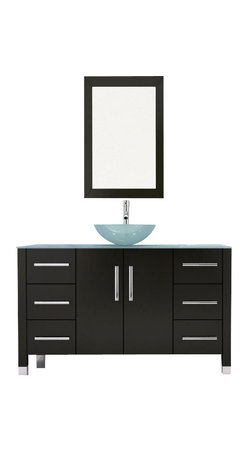 """JWH Imports - 47.25"""" Grand Crater Vessel Sink Modern Bathroom Vanity Set Bundle - If you prefer the minimalist look, this bathroom set is just for you. The matching pieces — vanity, wall-mounted closet and mirror — feature cool modern accents and generous storage. With one purchase, you'll create a bathroom that's both chic and practical."""