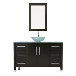 "JWH Imports - 47.25"" Grand Crater Vessel Sink Modern Bathroom Vanity Set Bundle - If you prefer the minimalist look, this bathroom set is just for you. The matching pieces — vanity, wall-mounted closet and mirror — feature cool modern accents and generous storage. With one purchase, you'll create a bathroom that's both chic and practical."