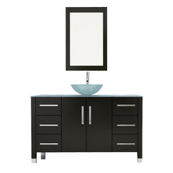 "47.25"" Grand Crater Vessel Sink Modern Bathroom Vanity Set Bundle"