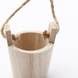 Unfinished Wood Water Bucket - This wooden bucket with a rope handle would work really well for a wall herb garden. Plant your favorite herbs inside and hang them as a gallery in your kitchen. Useful, practical and healthy!
