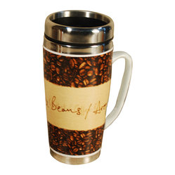 2-pk Ceramic Coffee Mugs, 15-ounce Steel Insert