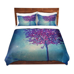 DiaNoche Designs - Duvet Cover Microfiber - Song of the Winterbird - DiaNoche Designs works with artists from around the world to bring unique, artistic products to decorate all aspects of your home.  Super lightweight and extremely soft Premium Microfiber Duvet Cover (only) in sizes Twin, Queen, King.  Shams NOT included.  This duvet is designed to wash upon arrival for maximum softness.   Each duvet starts by looming the fabric and cutting to the size ordered.  The Image is printed and your Duvet Cover is meticulously sewn together with ties in each corner and a hidden zip closure.  All in the USA!!  Poly microfiber top and underside.  Dye Sublimation printing permanently adheres the ink to the material for long life and durability.  Machine Washable cold with light detergent and dry on low.  Product may vary slightly from image.  Shams not included.