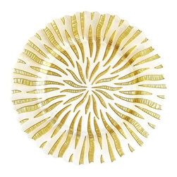 "Jay Companies - Halley Gold Glass Charger - Bring depth and dramatic design to place settings with this elegant Round Halley Gold Glass Charger Plate! Featuring shimmering finish for an extra-festive touch, its ideal for layering centerpieces and tableware and great for displaying your favorite dishes.              * Measures: 13""D"