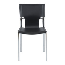 Euro Style - Euro Style Vinnie Side Chair Set of 4 17212BLK - Leather might be at the top of your list and the Vinnie collection delivers. The clever uniqueness of these chairs is in the slim, cutaway leather on the seat back. It's a pleasing shape for a very popular grouping.