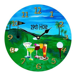 USA - 19th Hole Golf Wall Clock - Enjoy passing time with my dye sublimated art work on a beautiful 11.25'' hard board clock with a wonderful glossy finish. Clocks are a durable 1/4 '' thick and require a AA battery not included. Made in the USA.