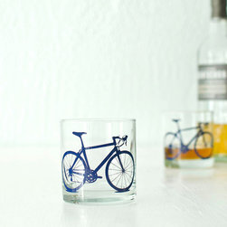Bicycle Screen-Printed Old-Fashioned Glasses, Blue by Vital - I love these drinking glasses. They're perfect for the summer patio or for that shot of scotch on a cold winter night.