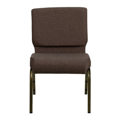 Flash Furniture - Flash Furniture Hercules Series Stacking Church Chair in Brown - Flash Furniture - Guest Chairs - FDCH02214GVS0819GG - This Hercules Series Church Chair will add elegance and class to any Church, Hotel, Banquet Room or Conference setting. If you are looking for a chair with comfort and style that is easy to move and stores away with ease, then look no further. This built to last chair has a 16-gauge steel frame that has been tested to hold 800 lbs. This church chair features double support bracing, ganging clamps, a cushion that graduates to a 5'' thick waterfall edge and plastic floor glides to protect non-carpeted floors. Our church chair is manufactured by one of the most reputable stack chair manufacturers in the industry, you can be assured of the quality of this chair offered to you. [FD-CH0221-4-GV-S0819-GG]