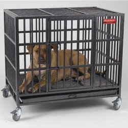"ProSelect - Empire Dog Crate - Features: -Cage. -Available in Medium or Large sizes. -Includes a floor grate, steel tray and four removable locking casters for added mobility. -Strong steel tubing, stout dual door latches and heavy-duty welding at stress points. -Quite possibly the world's strongest dog cages. -Designed specifically to contain powerful or aggressive dogs able to claw or chew their way out of other cages and crates. -0.75"" Frame is forged from 20-gauge steel and reinforced by 0.5"" diameter steel tubes for the strongest, sturdiest, most durable cage on the market. -Heavy-duty welds and stout dual door latches make these cages virtually indestructible. -Finished in a long-lasting, high-grade hammer tone for rust-resistance and durability. Specifications: -Medium cage:. -Outside dimensions: 33.75"" H x 37"" W x 25.13"" D. -Inside dimensions: 24.5"" H x 35.75"" W x 23.5"" D. -Large cage:. -Outside dimensions: 41.25"" H x 42.25"" W x 30.75"" D. -Inside dimensions: 31.75"" H x 40.75"" W x 28.13"" D."