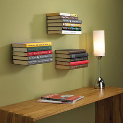 Umbra Conceal Floating Book Shelf, Silver, Large - These invisible bookshelves create the coolest effect on your wall. I'd pick books in the same color family to display together.