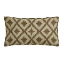 "Cushion Source - Ikat Fret Bronze Lumbar Pillow - The 20"" x 12"" Ikat Fret Bronze Lumbar Pillow features an ikat diamond pattern in bronze on a beige background."
