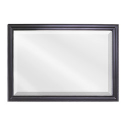 "Hardware Resources - Lyn Design MIR057D Wood Mirror - 40"" x 28"" Black mirror with beveled glass"