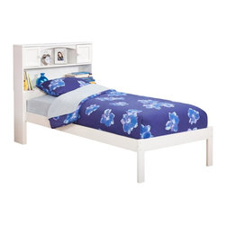 Atlantic Furniture - Urban Lifestyle Newport Bookcase Platform Bed - AR8521001 - Shop for Beds from Hayneedle.com! The perfect addition to any casual decor the contemporary style of the Urban Lifestyle Newport Bookcase Bed. Made of durable eco-friendly engineered wood this bed offers a versatile design that offers spacious storage shelves in the headboard for books and other bedside necessities. Choose your size finish and configuration to create the bed that fits with your lifestyle.About Atlantic FurnitureFounded in 1983 as Watercraft Inc. Atlantic Furniture started as a manufacturer of pine waterbed frames. Since then the Springfield Mass.-based company has expanded to Fontana Calif. The company has moved away from the use of pine and now specializes in imported furniture made of the wood of rubber trees.The Benefits of Eco-Friendly RubberwoodPrized as an environmentally friendly wood rubberwood makes use of trees that have been cut down at the end of their latex-producing life cycle. The trees are removed by hand and replaced with new seedlings. In the past felled rubber trees were either burned on the spot or used as fuel for locomotive engines brick firing or latex curing. Now the wood is used in the manufacture of high-end furniture. It is valued for its dense grain stability attractive color and acceptance of different finishes.Atlantic's Unique Five-Step Finishing ProcessEach product in the entire line is finished with a high-build five-step finishing process. After a thorough sanding a wipe-on sealer is applied followed by a tinted sealer to even the grain and color of the wood. Additional sanding prepares the surface for the first base color coat more sanding and a second base color coat. After a final sanding the finish coat is applied. This process produces a beautiful and durable finish that will last for years.