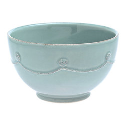Berry and Thread Cereal Bowl - Blue - Frame your setting in substance with the elegant stoneware detailing and striking ice blue glaze of the Berry and Thread Charger Plate. Beautifully embracing a cool winter-sky color that strikes a balance between the muted and the saturated, this charger is perfect for matching - or contrasting - with dinner plates of all themes. Dimensional berries and garland texture outline the form.