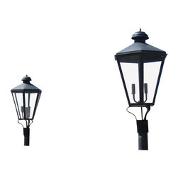 St. James Lighting - Biloxi Medium Steel Post Mount Lantern - Biloxi Medium Steel Post Mount Lantern. Not only are there several mounting choices, there are also different lighting options! An open flame gives the lantern a more natural look. Choose from a natural gas or a propane gas flame for a romantic light. With an open flame option, you can also operate the lantern with a light switch or other device. The electric option offers Edison Sockets or a Candelabra Cluster for a beautiful soft glow. With so many options, your sure find the perfect look for your home.