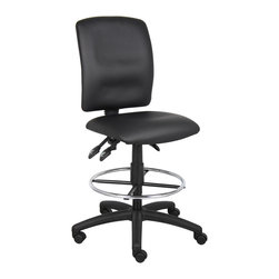 """Boss Chairs - Boss Chairs Boss Multi-Function LeatherPlus Drafting Stool - Upholstered in black Leather plus. Back angle lock allows the back to lock throughout the angle range for perfect back support. Seat tilt lock allows the seat to lock throughout the tilt range. Pneumatic gas lift seat height adjustment. Nylon base. Hooded double wheel casters. 20"""" diameter chrome footring."""