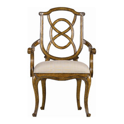 "Stanley Furniture - Arrondissement Tuileries Arm Chair - A sophisticated blend of classic European styles, the Tuileries Arm Chair receives your dining guests with unmatched hospitality. The subtle tonal stripe of the Glace fabric enhances the detailed carving found on the chair's back, while the curves of the cabriole legs are mirrored in the seat's arm rests. Seat: 20 1/2"" W X 18"" D Arm: 25"" H Made to order in America."