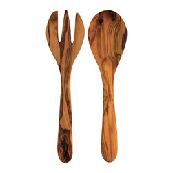 Olive Wood Round Serving Set - Utensils need not be utilitarian:  The Olive Wood Round Serving Set boasts a simple, sleek, and sophisticated design that imparts rustic refinement and originality to your dining table. Both pieces allow for stylish serving of fresh salad greens or an assortment of sides accompanying a savory cassoulet. Available as a set of two.