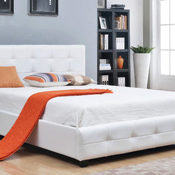 Abbyson Living - Abbyson Living Montego White Tufted Bonded Leather Platform Bed - This classy,bonded white leather bed will fit perfectly as the centerpiece of your bedroom set regardless of your chosen style of decor. A classic white bed can be both modern and traditional at the same time,allowing versatility.