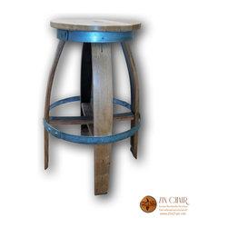 Zin Barstool - Outward Legs - Wine Barrel Bar Stools - Zin Rotating Barstool (Outward legs) - http://www.zinchair.net/shop-wine-barrel-furniture/zin-bar-stool-rotating/