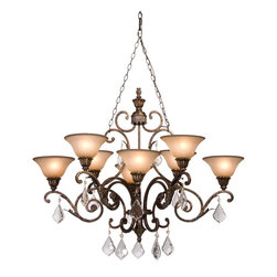 Artcraft Lighting - Bronze Florence 2-Tier Chandelier with 8 Lights - 43 Inches Wide - Lamping Technology: