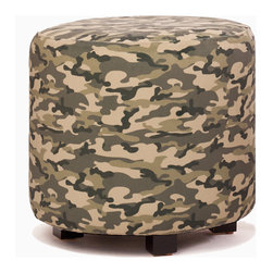 Aroopy - Camouflage Ottoman - The ever-popular camouflage print gives this ottoman a striking design pattern with a rugged edge. Per its design, the camouflage will blend well in a rustic setting. But out of the wild, in a contemporary setting, it will stand out more and makes a statement. Use it as a footstool or side table for a leather chair to keep that natural color palette, or pair it with bright solids and mixed patterns for a modern look.
