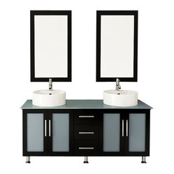 Double Lune Large Vessel Sink Modern Bathroom Vanity Cabinet with Glass Top