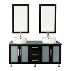 """JWH Imports - 59"""" Double Lune Large Vessel Sink Modern Bathroom Vanity Cabinet with Glass Top - The epitome of form meets function, this contemporary double vanity boasts two sinks, two generously sized cabinets with frosted glass doors, and a middle panel of three sliding, soft-close drawers. Aesthetically stunning yet oh-so-practical, this bathroom vanity is an exquisite addition to your powder room with storage options aplenty."""
