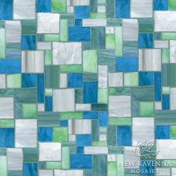 Block Party Jewel Glass Mosaic - Block Party, a hand cut Jewel glass mosaic, is shown in Chrysocolla, Pearl, Chrysoberyl and Peacock Topaz.