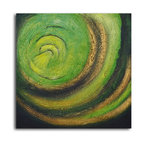 The green abyss Hand Painted Oil Painting - This painting draws your gaze into a vortex of virulent green. Such a powerful force of composition and color will continually call you back, wherever you hang it.