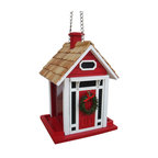 Home Bazaar Inc - Christmas Cottage Birdfeeder - Red - Holiday visitors of both the human and feathered varieties are sure to enjoy the Christmas Cottage Birdfeeder. Our fully functional bird feeder will fit right into any yuletide backyard. Top lifts up to expose ample cavity for seed. Features a removable wreath. Topped off with a pine roof.