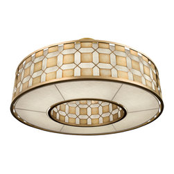 Fine Art Lamps - Allegretto Gold Pendant, 787840-2GU - Brighten your dining room, breakfast room or bath with this beguiling pendant light. The burnished gold-leaf frame is accented with brown highlights, delivering a timeless tile design that complements the textured linen shade. It's also available in a platinized silver-leaf finish.