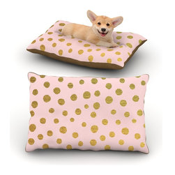 "Kess InHouse - Nika Martinez ""Golden Dots & Pink"" Blush Fleece Dog Bed (18"" x 28"") - Pets deserve to be as comfortable as their humans! These dog beds not only give your pet the utmost comfort with their fleece cozy top but they match your house and decor! Kess Inhouse gives your pet some style by adding vivaciously artistic work onto their favorite place to lay, their bed! What's the best part? These are totally machine washable, just unzip the cover and throw it in the washing machine!"