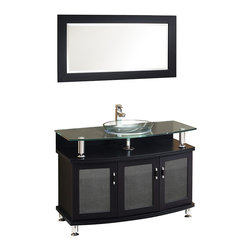 "Fresca - Fresca Contento 43"" Espresso Vanity w/ Mirror - Dimensions of vanity:  43.25""W x 22.13""D x 33.75""H. Dimensions of mirror:  43.38""W x 23.63""H. Materials:  Solid wood frame, tempered glass countertop/sink. Single hole faucet mount. P-trap, faucet, pop-up drain and installation hardware included.  A lovely vanity that takes a contemporary twist on baroque furniture.  Little details such as slightly octangular shaped storage, cubby hole storage underneath the counter and basin, a clear glass basin and a wide mirror really make this ensemble great for those looking to not just update their bathroom, but keep it classic."