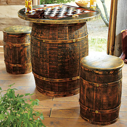 Whiskey Barrel Game Table & Stools - It's officially game night with this Whiskey Barrel Game Table. Repurposed cedar barrels give your game room the feel of an Old West saloon. I appreciate the roughed-out look that means no maintenance and extreme family friendliness.