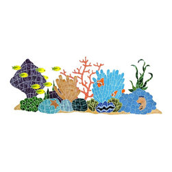 Glass Tile Oasis - Large Multi Color Ocean Reef Pool Accents Multi Color Pool Glossy Ceramic - We offer six lines of in-stock designs ready for immediate delivery including: The Aquatic Line, The Shadow Line, The Hang 10 Line, The Medallion Line, The Garden Line and The Peanuts Line. All of the mosaics are frost proof, maintenance free and guaranteed for life. Our Aquatic Line includes: mosaic dolphins, mosaic turtles, mosaic tropical and sport fish, mosaic crabs and lobsters, mosaic mermaids, and other mosaic sea creatures such as starfish, octopus, sandollars, sailfish, marlin and sharks. For added three dimensional realism, the Shadow Line must be seen to be believed. Our Garden Line features mosaic geckos, mosaic hibiscus, mosaic palm tree, mosaic sun, mosaic parrot and many more. Put Snoopy and the gang in your pool or bathroom with the Peanuts Line. Hang Ten line is a beach and surfing themed line featuring mosaic flip flops, mosaic bikini, mosaic board shorts, mosaic footprints and much more. Select the centerpiece of your new pool from the Medallion Line featuring classic design elements such as Greek key and wave elements in elegant medallion mosaic designs.