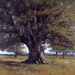 """Gustave Courbet The Oak at Flagey (The Oak of Vercingetoris) Print - 18"""" x 24"""" Gustave Courbet The Oak at Flagey (also known as The Oak of Vercingetoris) premium archival print reproduced to meet museum quality standards. Our museum quality archival prints are produced using high-precision print technology for a more accurate reproduction printed on high quality, heavyweight matte presentation paper with fade-resistant, archival inks. Our progressive business model allows us to offer works of art to you at the best wholesale pricing, significantly less than art gallery prices, affordable to all. This line of artwork is produced with extra white border space (if you choose to have it framed, for your framer to work with to frame properly or utilize a larger mat and/or frame).  We present a comprehensive collection of exceptional art reproductions byGustave Courbet."""
