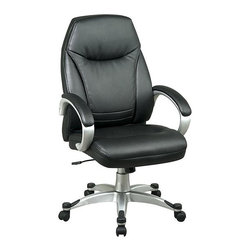 Office Star - High Back Deluxe Faux Leather Chair in Black - Made of Leather/Metal. Thick Padded Contour Seat and Back with Built-in Lumbar Support. One Touch Pneumatic Seat Height Adjustment. Padded Arms. Faux Leather: Espresso. Heavy Duty Coated Finished Base with Dual Wheel Carpet Casters. Pictured in Black Leather. Some assembly required. Back Dimension: 20.5 in. W x 25 in. H x 3.5 in. T. Seat Dimension: 20.5 in. W x 18 in. D x 4 in. T. Overall Dimension: 25.25 in. W x 25.5 in. L x 46 in. H