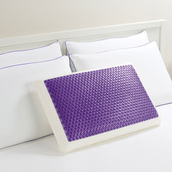 Comfort Memories - Comfort Memories Gel Purple Bubble Bed Pillow - Avoid neck strain while sleeping with this standard-sized gel pillow made by Comfort Memories. The purple bubble is filled with a cool gel,and it has a layer of memory foam for additional comfort. A microfiber polyester cover is included.