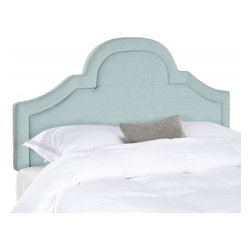 Safavieh - Jeremiah King Headboard - Romantic and refined, the beautifully arched Jeremiah king headboard adds architectural interest to any bedroom in need of a dramatic focal point.  Luxuriously high, this headboard is richly upholstered in a linen-weave blend in a pretty sky blue.