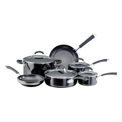 Farberware Cookware - Farberware Millennium 12 Pc. Set Nonstick Black - Farbrware Millennium 12 PC NS Aluminum Black. A cookware set gives you an excellent value by including the basic pans needed to equip your kitchen. It includes three different sized saucepans for whisking a homemade sauce or cooking your morning oatmeal, a big stockpot for soups, stews or pasta, and a large saute for everything from seared tuna to vegetable saute. This set also includes two Prestige kitchen tools to let you get started on your next culinary creation. Includes: 1 Qt. and 2 Qt. Covered Saucepans, 6 Qt. Covered Stockpot, 3 Qt. Covered Saute, 8'' & 9.5'' Skillets, two Prestige kitchen tools including a Slotted Spoon and Slotted Turner