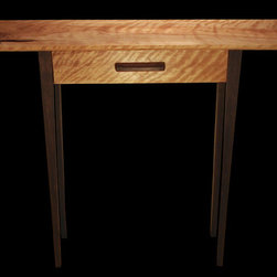 Ô console mio - Handtools-made small console of Curly Birch and Black Walnut.