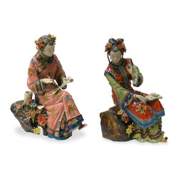 "China Furniture and Arts - Chinese Porcelain Dolls - Depicted to be relaxing by a pond, both women are sitting with graceful poise. These elegant porcelain figurines with their downcast eyes and graceful hand-gestures exhibit Chinese feminine virtues of modesty and serenity. Both are dressed in Qing style clothing and hand-painted with great details by artisans in China. Sold as a set. (Left:7.5""x3.5""x9""H, Right:6.75""x3.75""x9.5""H)"