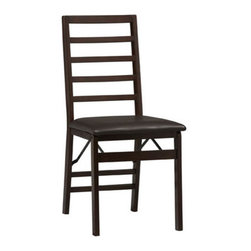 "Linon - Triena Ladderback Side Chair (Set of 2) (Set of 2) - Stylish seating with the convenience of a folding chair. This pair of folding chairs adds an extra dash of elegance for dining or entertaining. The wood frames feature a classic Ladder back and a wipe clean, vinyl padded seat with the appearance of leather, and a rich Espresso finish. Front and rear supports provide extra stability. The space saving chairs fold for easy set up and storage. Features: -Ladder back folding chair.-Wipe clean, dark brown vinyl padded seat.-Folds for easy set up and storage.-Front and rear supports provide extra stability.-Plywood, rubber wood, PVC and CA fire foam construction.-Rich espresso finish.-Triena collection.-Collection: Triena.-Distressed: No.-Finish: Espresso.-Hardware Finish: Gold/Silver.-Powder Coated Finish: No.-Gloss Finish: No.-Frame Material: Plywood/Rubberwood/PVC/CA firefoam.-Hardware Material: Metal.-Solid Wood Construction: No.-Number of Items Included: 2 Chairs.-Non-Toxic: No.-Scratch Resistant : No.-Rust Resistant: No.-Stain Resistant: No.-Fire Retardant: No.-Mildew Resistant: No.-Upholstered Seat: Yes -Seat Upholstery Material: PVC.-Seat Upholstery Color: Dark brown.-Removable Seat Cushions: No.-Seat Cushion Fill Material: CA Firefoam.-Removable Seat Cushion Cover: No.-Tufted Seat Upholstery: No.-Welt on Seat Cushions: No..-Upholstered Back: No.-Nailhead Trim: No.-Swivel: No.-Foldable: Yes.-Stackable: No.-Number of Legs: 4.-Leg Material: Rubberwood.-Casters: No.-Protective Floor Glides: No.-Adjustable Height: No.-Ergonomic Design: No.-Saddle Seat: No.-Outdoor Use: No.-Weight Capacity: 250 lbs.-Swatch Available: No.-Commercial Use: No.-Recycled Content: No.-Eco-Friendly: No.-Product Care: Wipe with clean damp cloth.Specifications: -FSC Certified: No.-ISTA 3A Certified: Yes.-General Conformity Certificate: Yes.-ANSI BIFMA Certified: No.Dimensions: -Overall Product Weight: 26.76 lbs.-Overall Height - Top to Bottom: 35"".-Overall Width - Side to Side: 17"".-Overall Depth - Front to Back: 20"".-Seat Height: 18"".-Seat Width - Side to Side: 17"".-Seat Depth - Front to Back: 19"".Assembly: -Assembly Required: No.-Additional Parts Required: No."