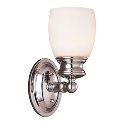 Elise Bath 1 Light Sconce - Coordinating Chrome Bath Fixture - effortless, easy style with Opal Frosted GlassWeight: 14. 00 lbsFinish: Polished ChromeBulb Wattage: 100Glass: Frosted OpalNumber of Bulbs: 1Type of Bulb: ENumber of Arms: 1Extends Length: 6. 50Bulbs Included: NoSafety Rating: UL, CULVoltage: 120