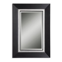 Uttermost - Uttermost 14153 B  Whitmore Black Vanity Mirror - This wood frame has a matte black finish with a silver leaf inner liner and a gray glaze. mirror is beveled.