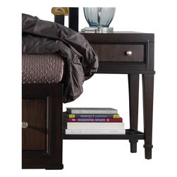 Hooker Furniture - Hooker Furniture Ludlow Leg Nightstand in Walnut - Hooker Furniture - Nightstands - 103091116 - With a metropolitan and modern attitude, Ludlow is distinguished by an intriguing walnut veneer story and hip fretwork detail.