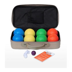 Beach Bocce Ball - Beach Bocce Game Set - This top-quality set is custom designed for maximum fun and durability on beaches and lawns everywhere. The bright, beach-ball colored balls are made of durable rust-, crack- and shatter-resistant synthetic polymers, injection-molded for a lifetime of family fun. They deliver the best of Bocce in the smaller Petanque size (the French version of Bocce) 74 mm, or 3 inches, in diameter so both kids and adults can play easily. No vacation or beach lifestyle should be without Beach Bocce Ball. Buy your set today and look for Beach Bocce Ball next time you visit a beach house, condo, hotel or resort. Features: -Made of tough synthetic polymers and injection molded.-Durable and shock resistant, won't crack, chip or rest.-Petanque size (French version).-String for measuring those ball placements too close to measure with the naked eye.-Case made of durable canvas designed with the great outdoors in mind.-Set includes: eight balls, one string, one Jack target ball and one carrying case.-Distressed: No.Dimensions: -Ball dimensions: 3'' W x 3'' D.-Overall Height - Top to Bottom: 4.-Overall Width - Side to Side: 4.-Overall Depth - Front to Back: 13.-Overall Product Weight: 12 lbs.